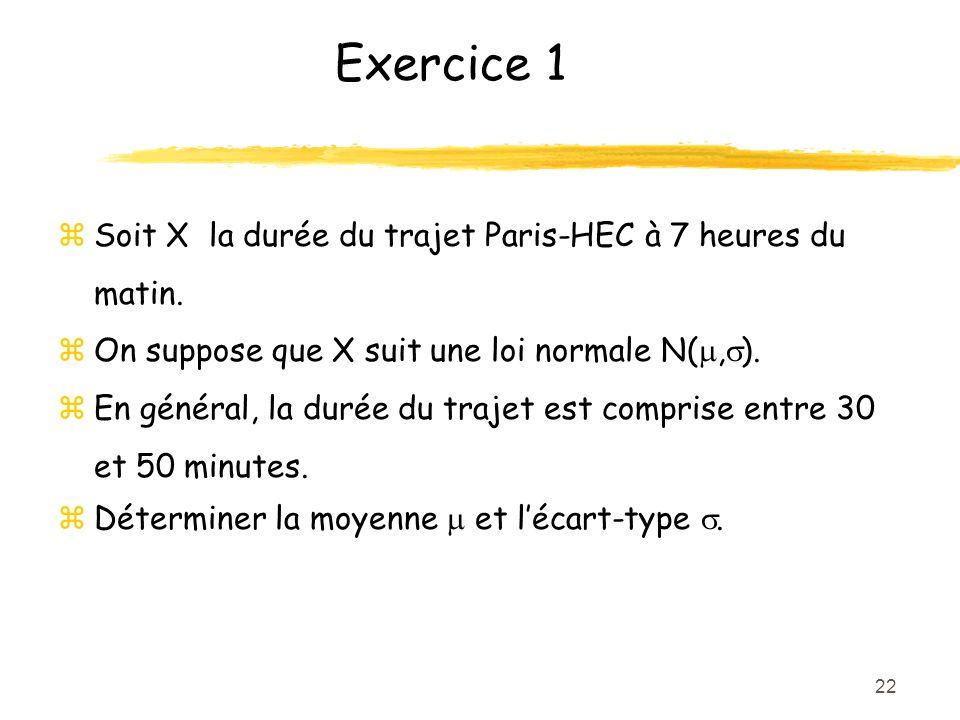 Exercice 1 Soit X la durée du trajet Paris-HEC à 7 heures du matin.