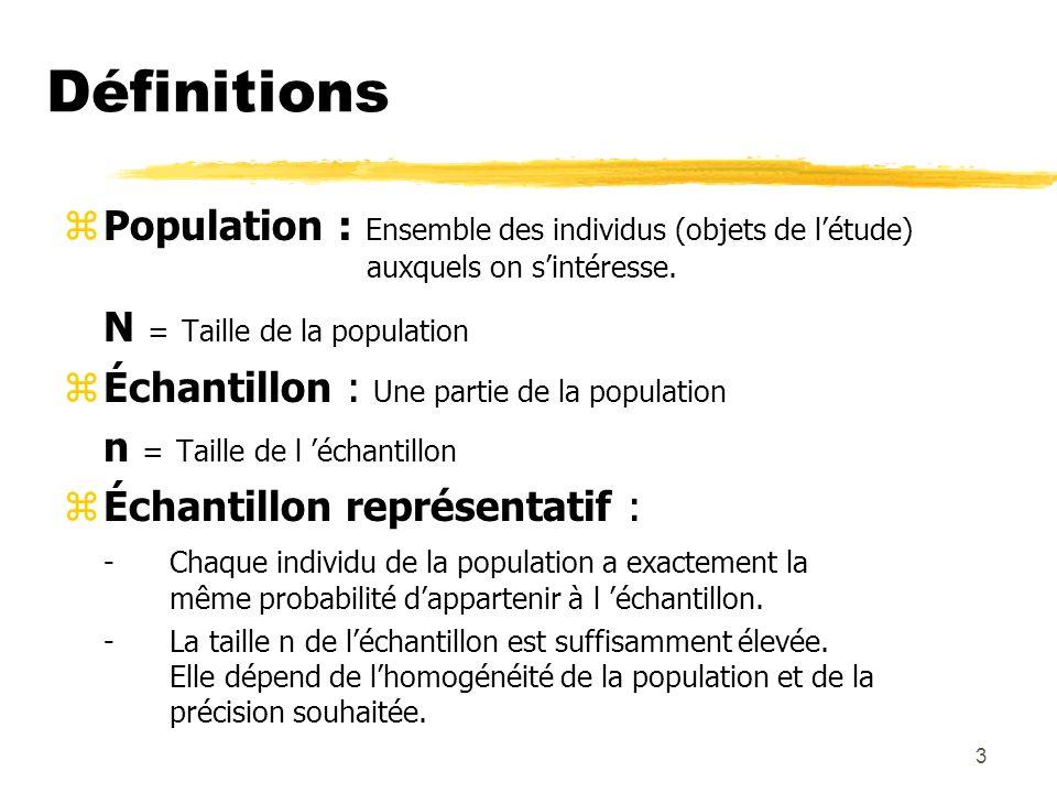 Définitions N = Taille de la population