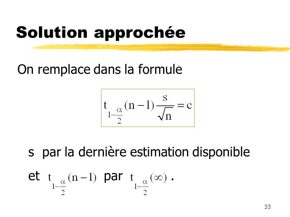 Solution approchée On remplace dans la formule