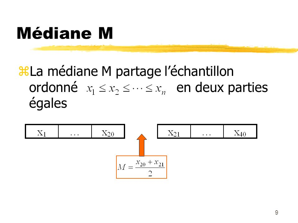 Médiane M La médiane M partage l'échantillon ordonné en deux parties égales