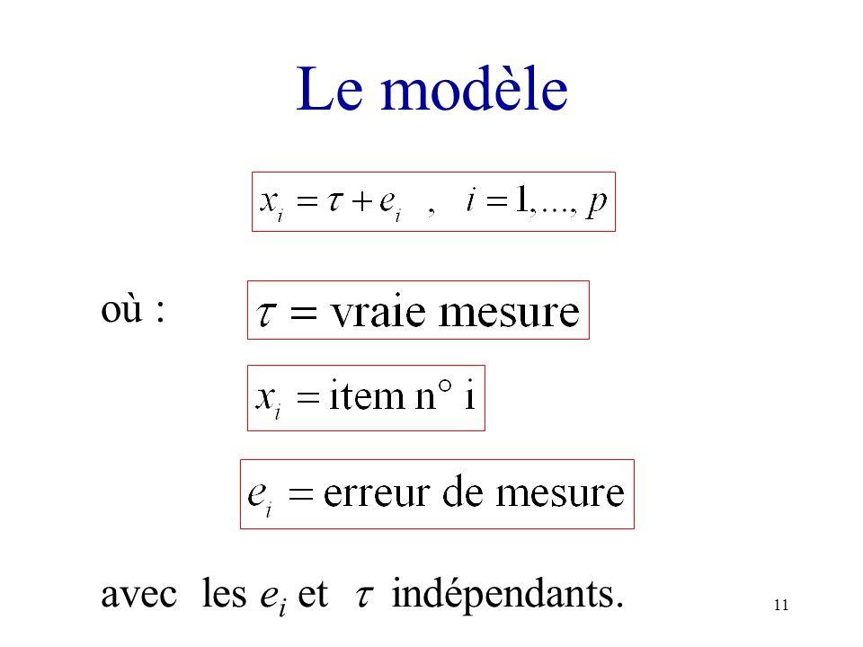 Le modèle où : avec les ei et  indépendants.