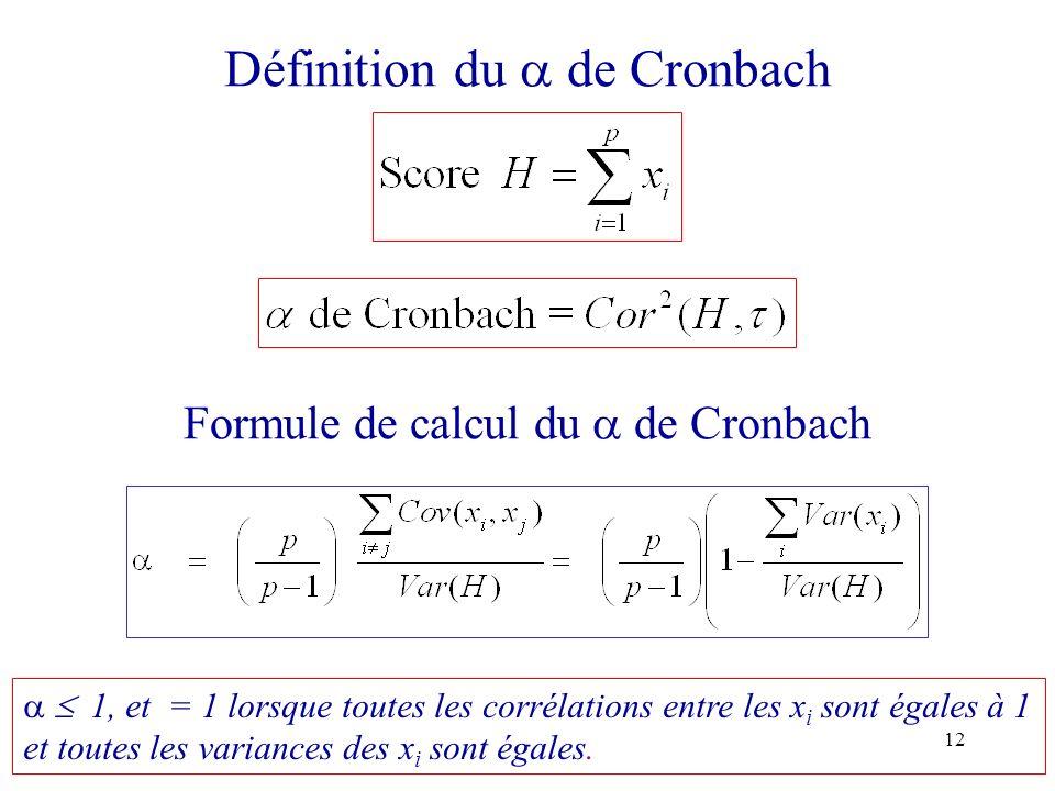 Définition du  de Cronbach