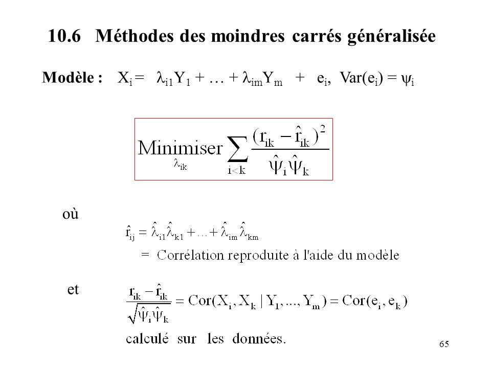 10.6 Méthodes des moindres carrés généralisée