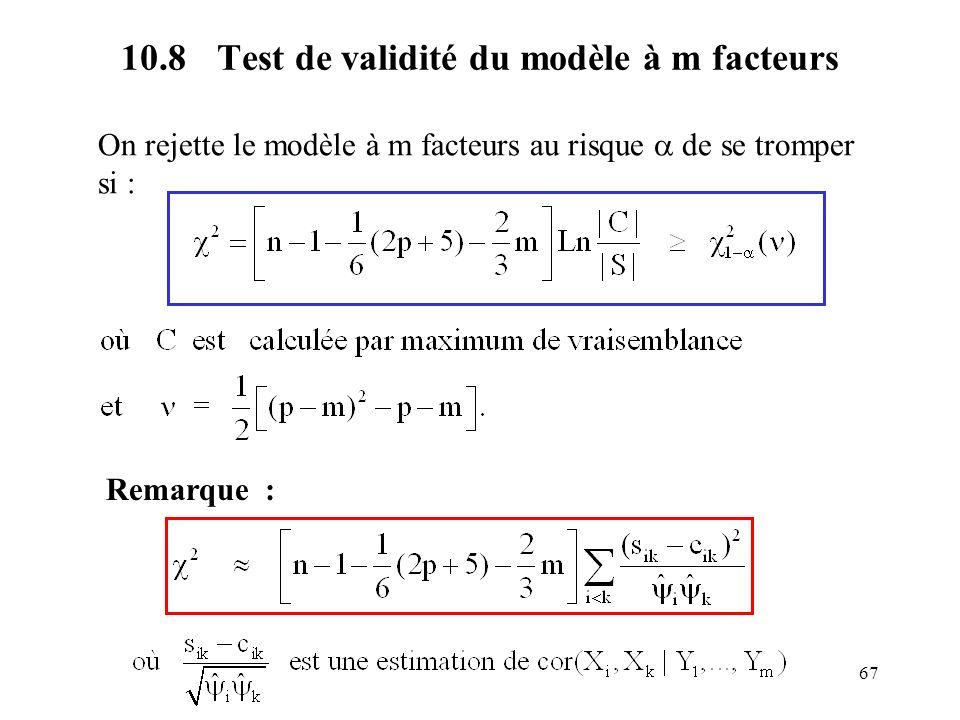 10.8 Test de validité du modèle à m facteurs