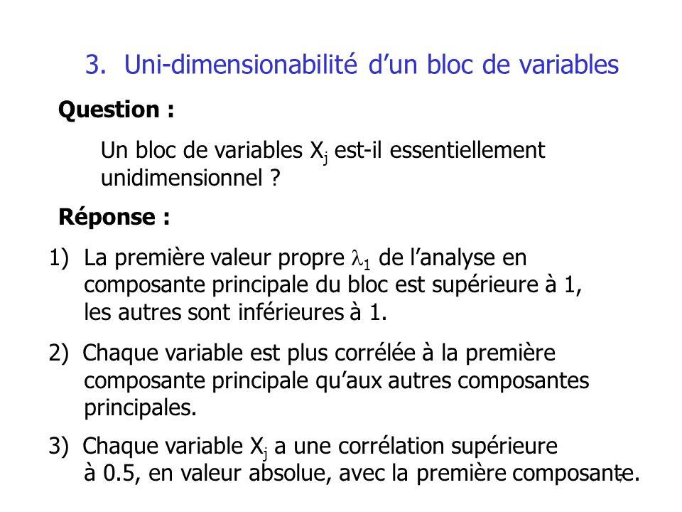 3. Uni-dimensionabilité d'un bloc de variables