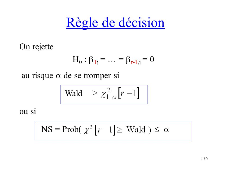 Règle de décision On rejette H0 : 1j = … = r-1,j = 0