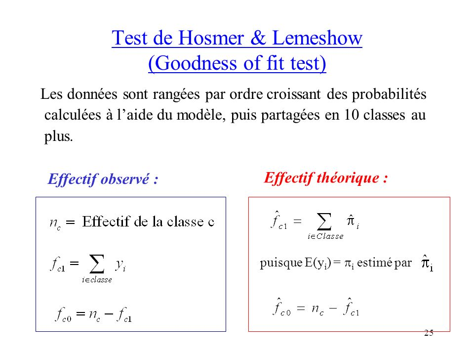Test de Hosmer & Lemeshow (Goodness of fit test)