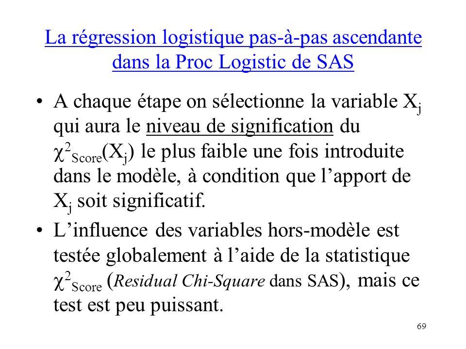 La régression logistique pas-à-pas ascendante dans la Proc Logistic de SAS