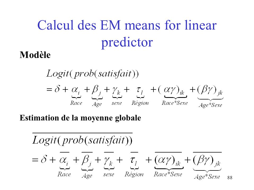Calcul des EM means for linear predictor
