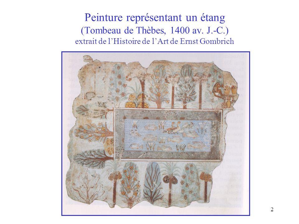 Peinture représentant un étang (Tombeau de Thèbes, 1400 av. J. -C