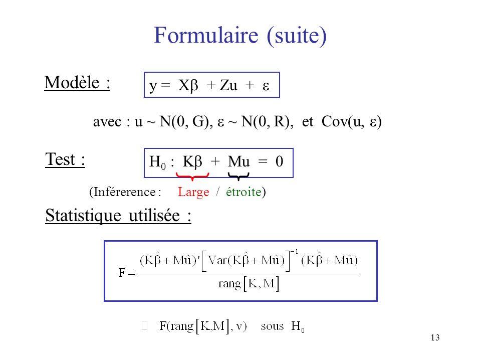 Formulaire (suite) Modèle : Test : Statistique utilisée :
