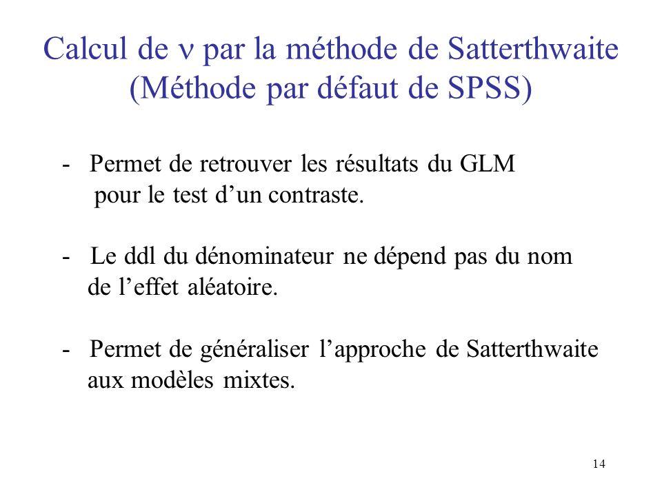 Calcul de  par la méthode de Satterthwaite (Méthode par défaut de SPSS)