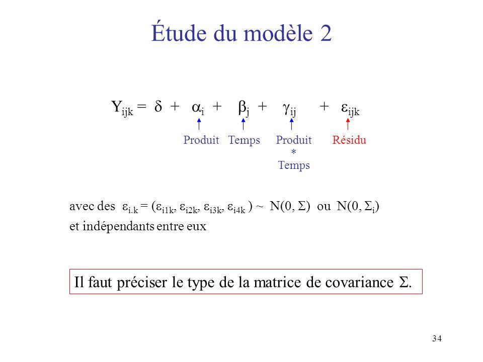 Étude du modèle 2 Yijk =  + i + j + ij + ijk