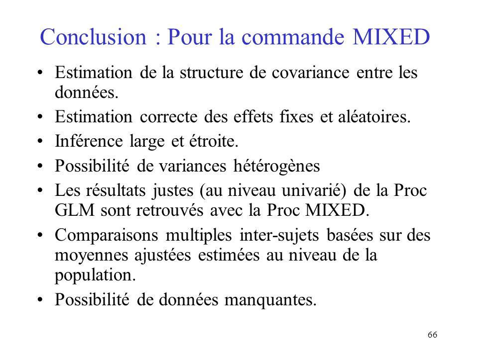 Conclusion : Pour la commande MIXED