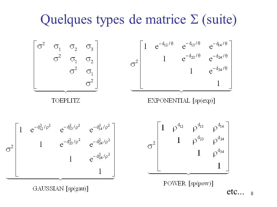 Quelques types de matrice  (suite)