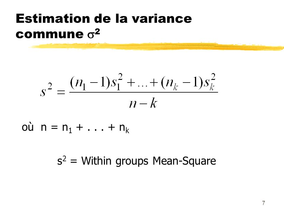 Estimation de la variance commune 2