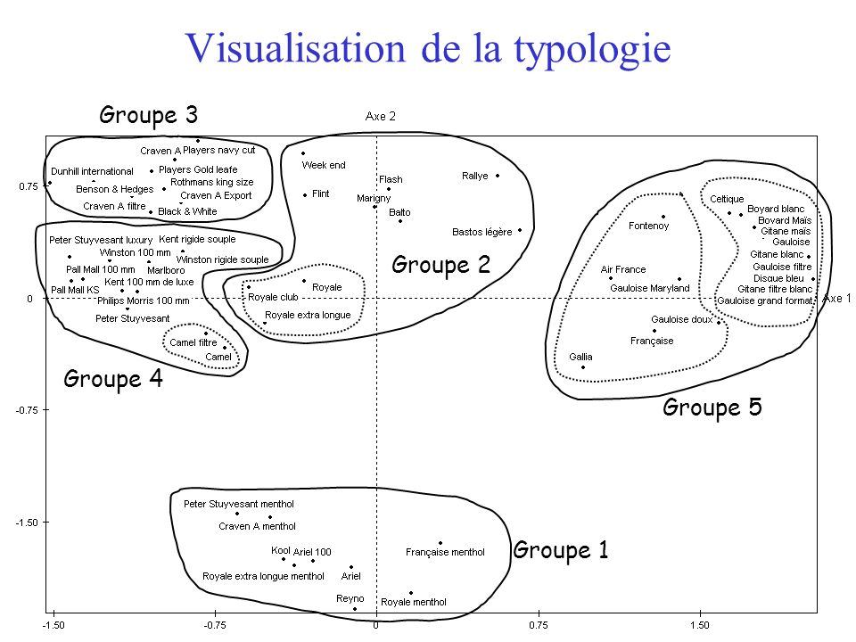 Visualisation de la typologie