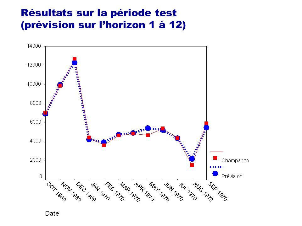 Résultats sur la période test (prévision sur l'horizon 1 à 12)