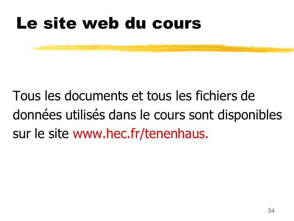 Le site web du cours Tous les documents et tous les fichiers de