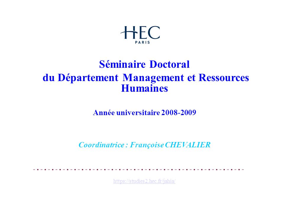 du Département Management et Ressources Humaines