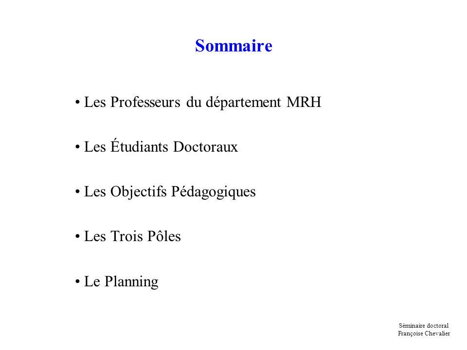 Sommaire Les Professeurs du département MRH Les Étudiants Doctoraux