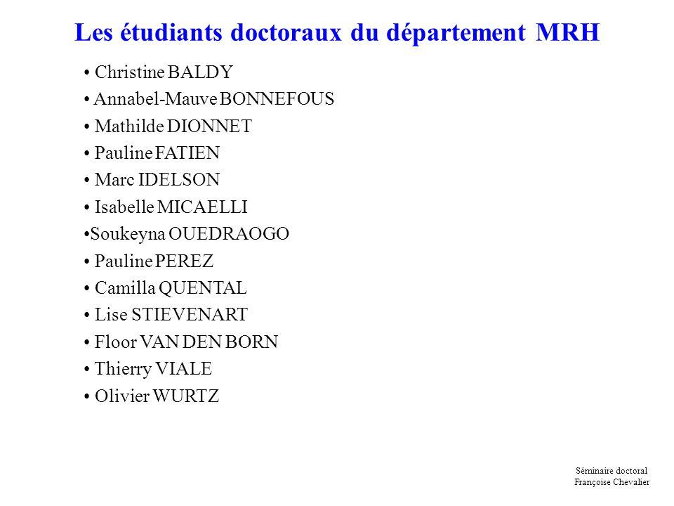 Les étudiants doctoraux du département MRH