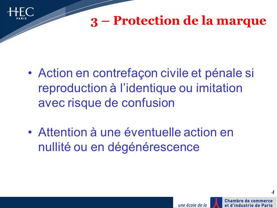 3 – Protection de la marque