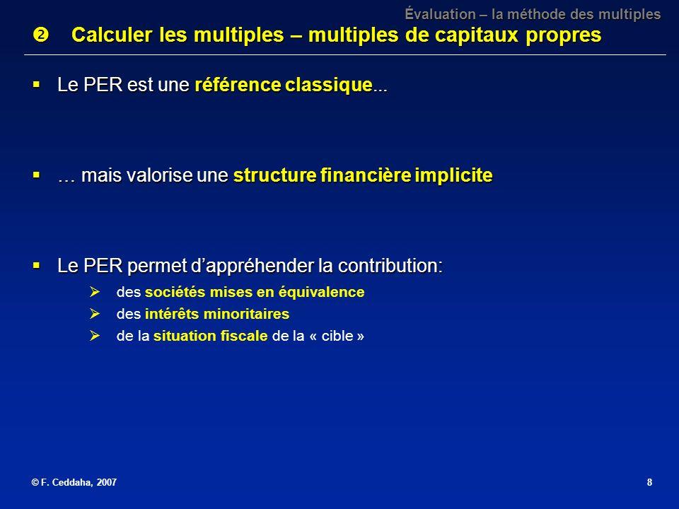 Calculer les multiples – multiples de capitaux propres