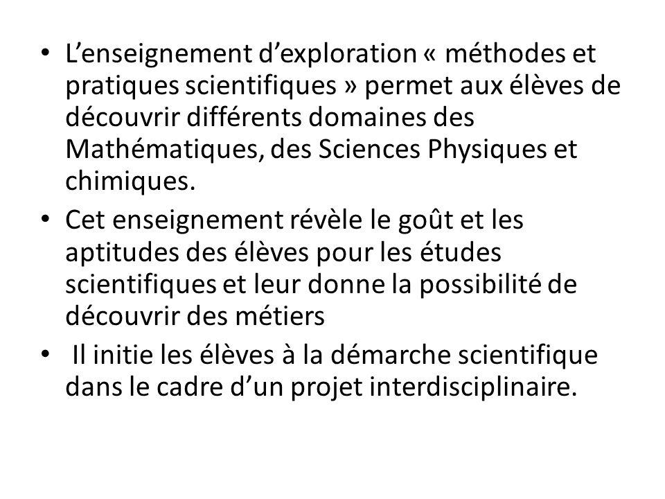 L'enseignement d'exploration « méthodes et pratiques scientifiques » permet aux élèves de découvrir différents domaines des Mathématiques, des Sciences Physiques et chimiques.