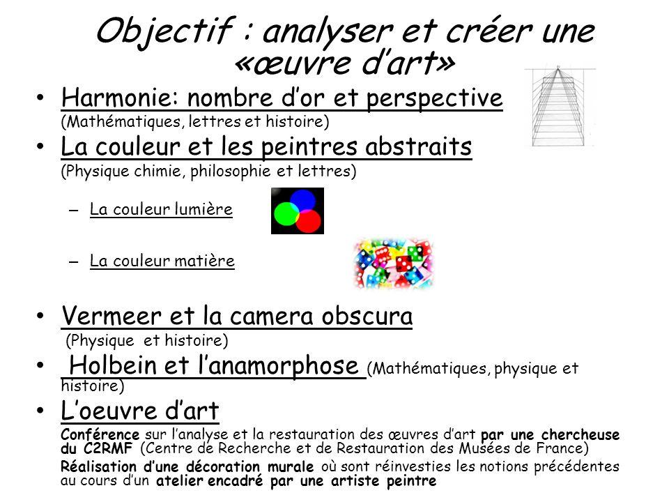 Objectif : analyser et créer une «œuvre d'art»