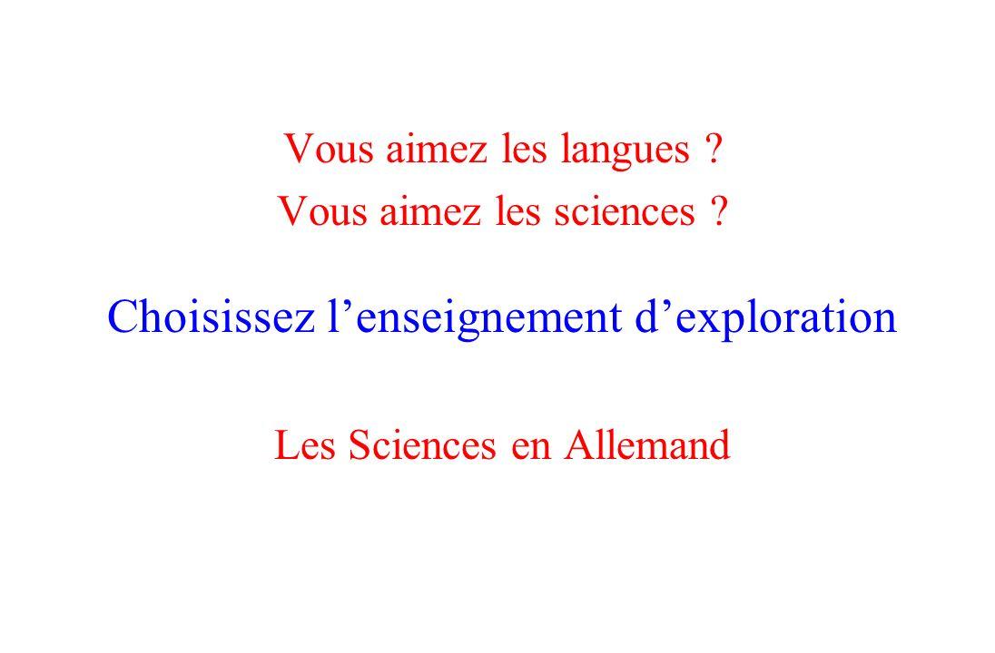 Choisissez l'enseignement d'exploration