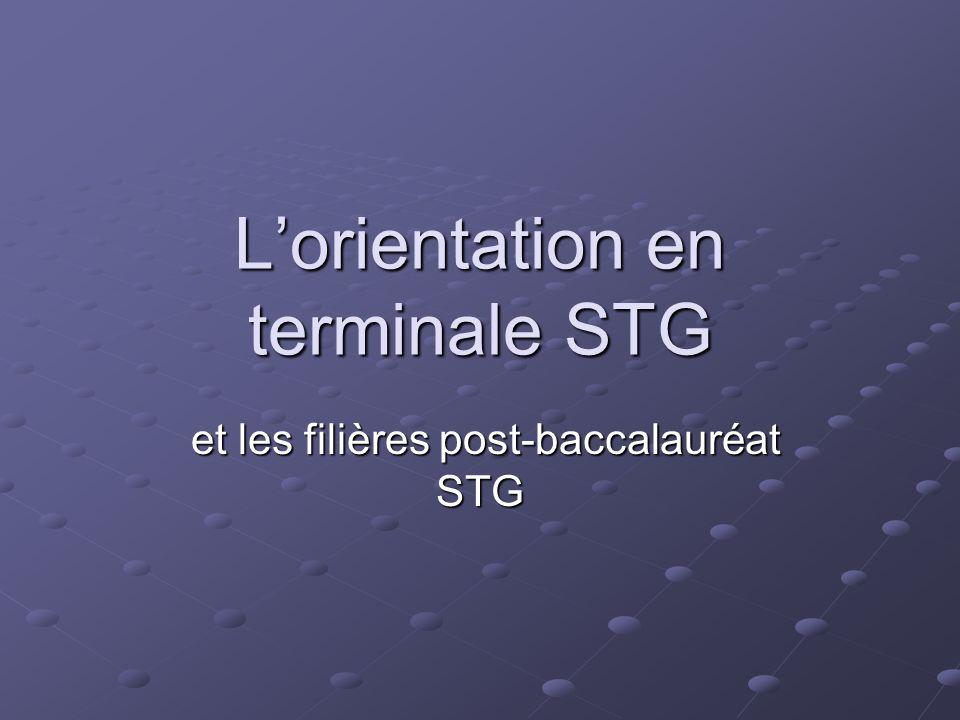 L'orientation en terminale STG