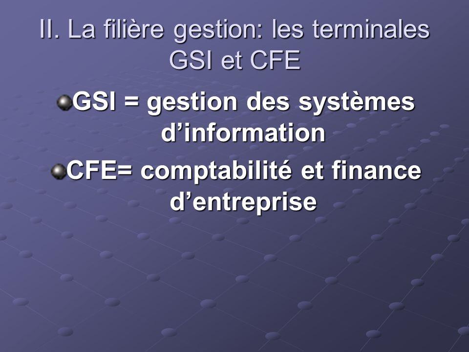 II. La filière gestion: les terminales GSI et CFE