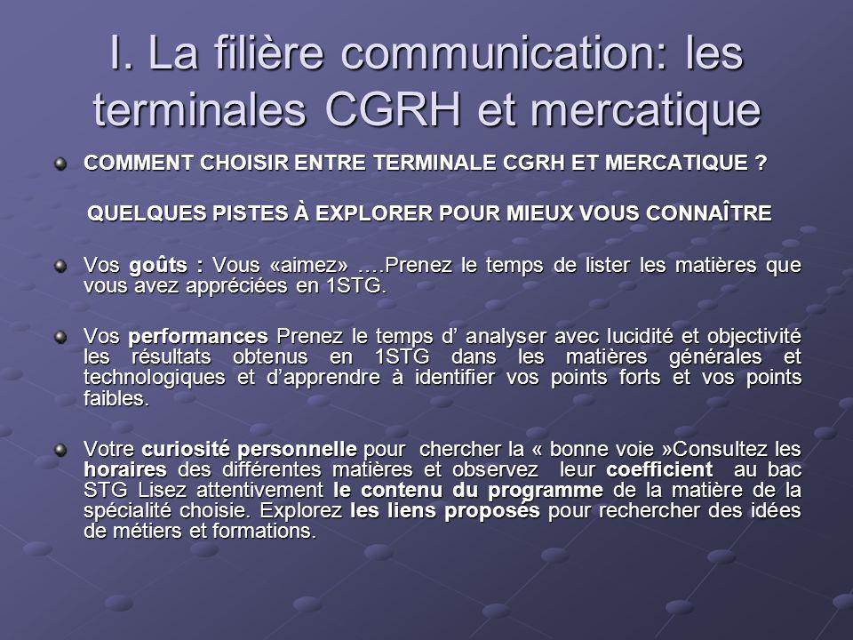 I. La filière communication: les terminales CGRH et mercatique