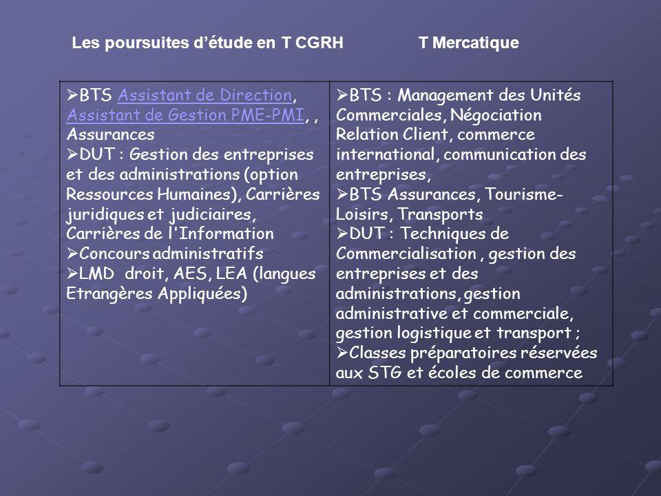 Les poursuites d'étude en T CGRH T Mercatique