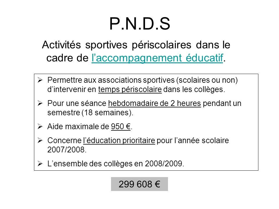 P.N.D.S Activités sportives périscolaires dans le cadre de l'accompagnement éducatif.