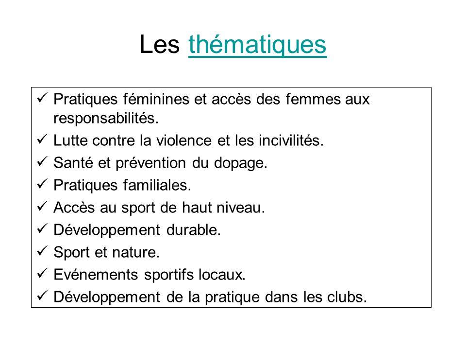 Les thématiques Pratiques féminines et accès des femmes aux responsabilités. Lutte contre la violence et les incivilités.