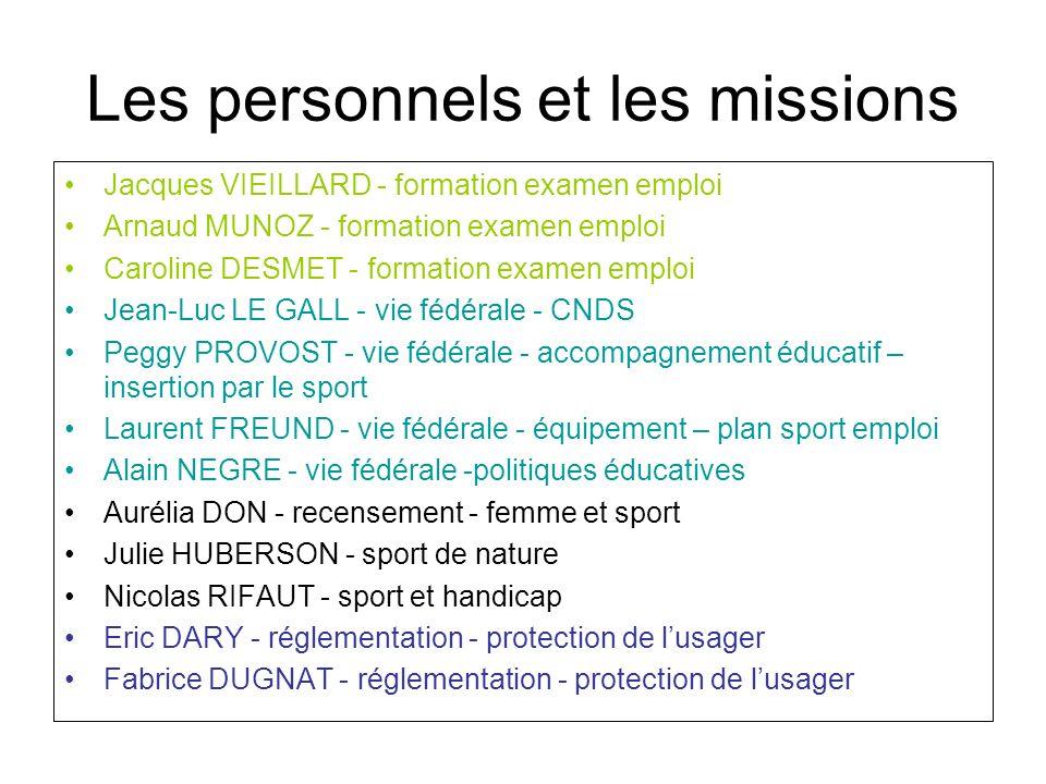 Les personnels et les missions