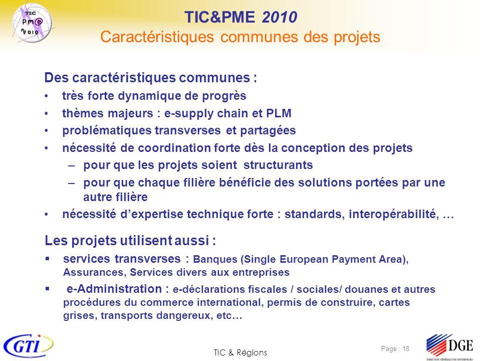 TIC&PME 2010 Caractéristiques communes des projets