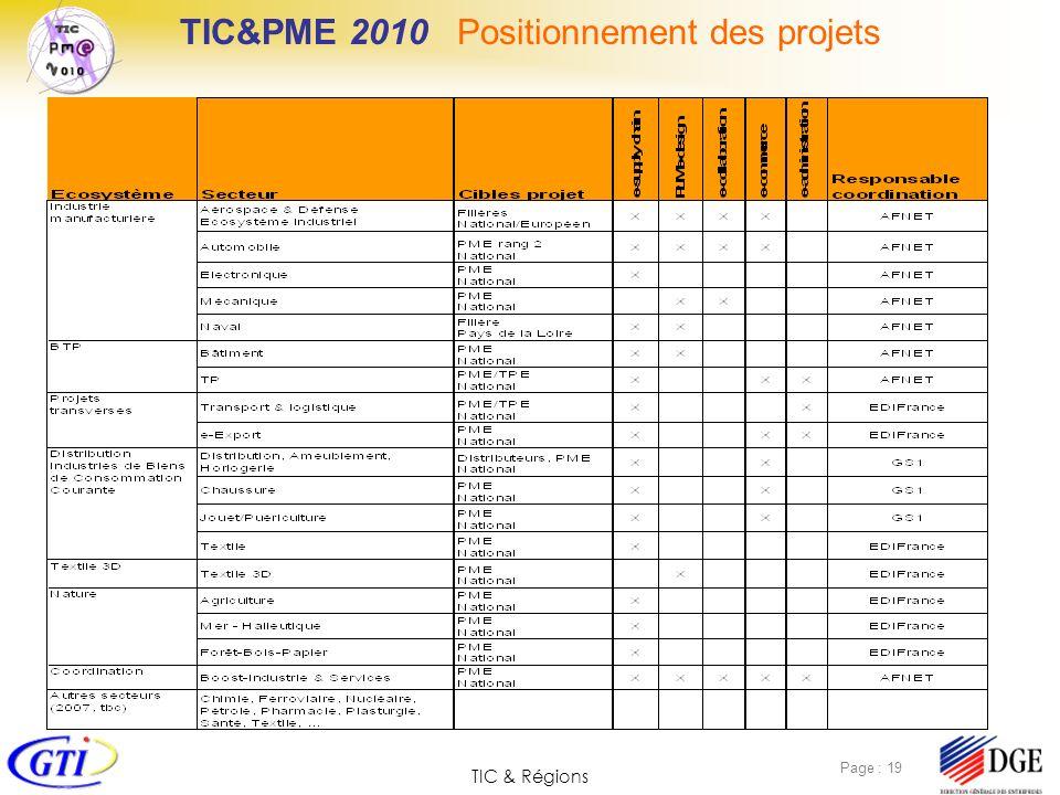 TIC&PME 2010 Positionnement des projets