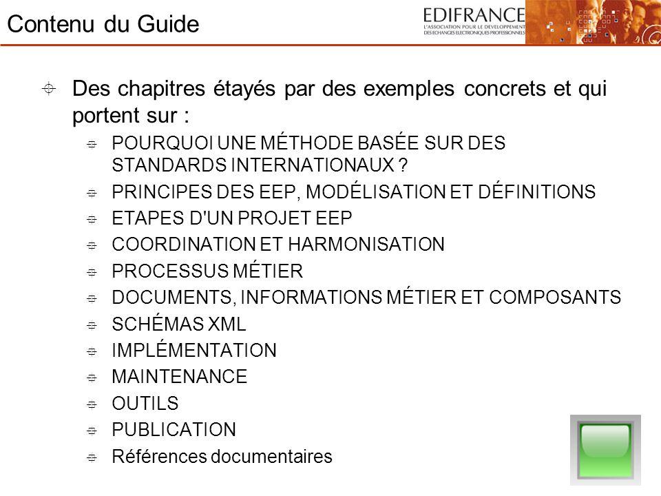 Contenu du Guide Des chapitres étayés par des exemples concrets et qui portent sur : POURQUOI UNE MÉTHODE BASÉE SUR DES STANDARDS INTERNATIONAUX