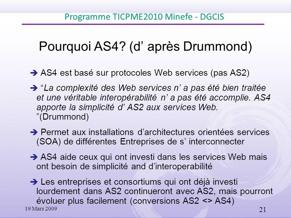 Pourquoi AS4 (d' après Drummond)