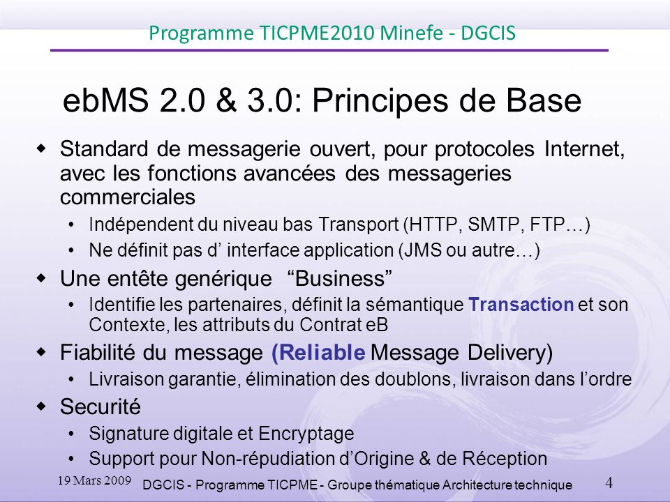 ebMS 2.0 & 3.0: Principes de Base