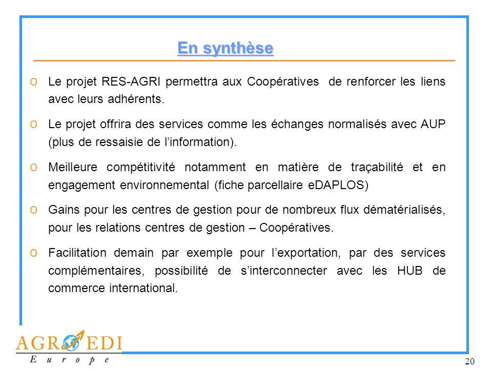 En synthèse Le projet RES-AGRI permettra aux Coopératives de renforcer les liens avec leurs adhérents.