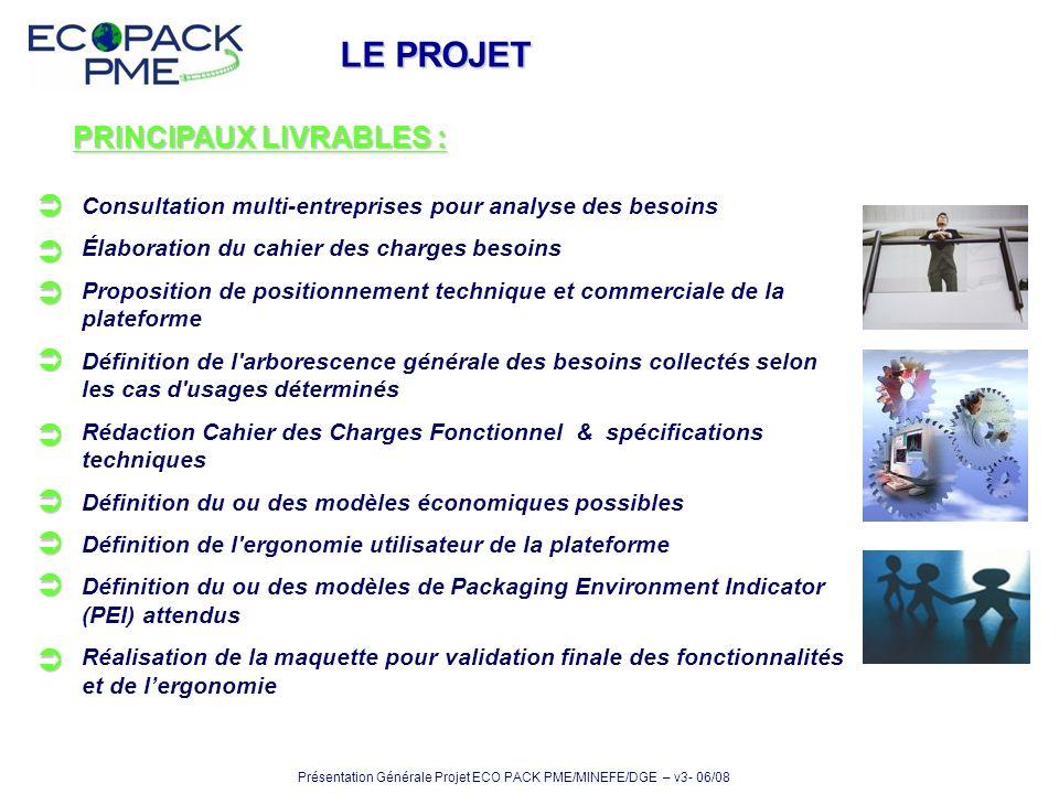 LE PROJET PRINCIPAUX LIVRABLES :         