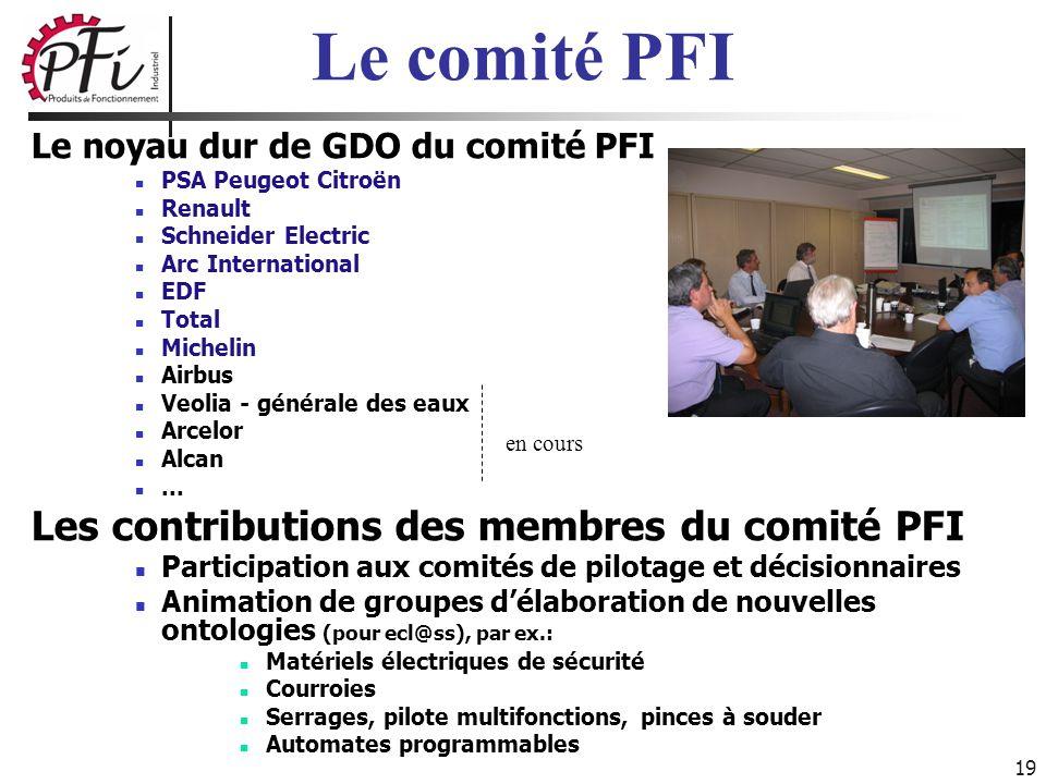 Le comité PFI Les contributions des membres du comité PFI