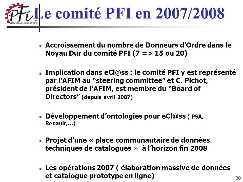 Le comité PFI en 2007/2008 Accroissement du nombre de Donneurs d'Ordre dans le Noyau Dur du comité PFI (7 => 15 ou 20)
