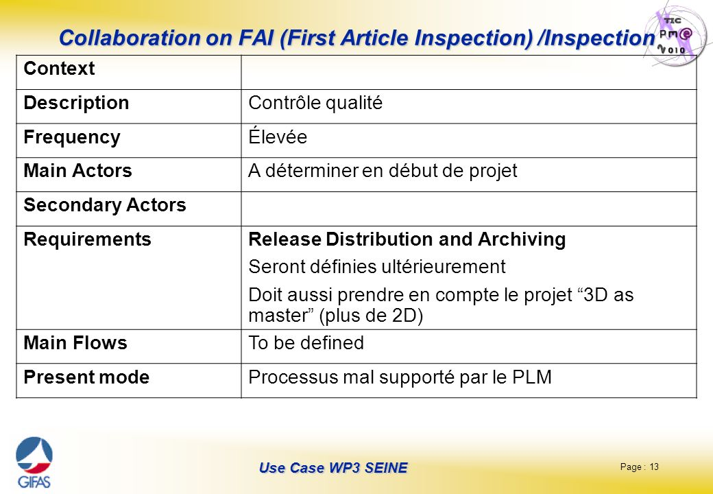 Collaboration on FAI (First Article Inspection) /Inspection