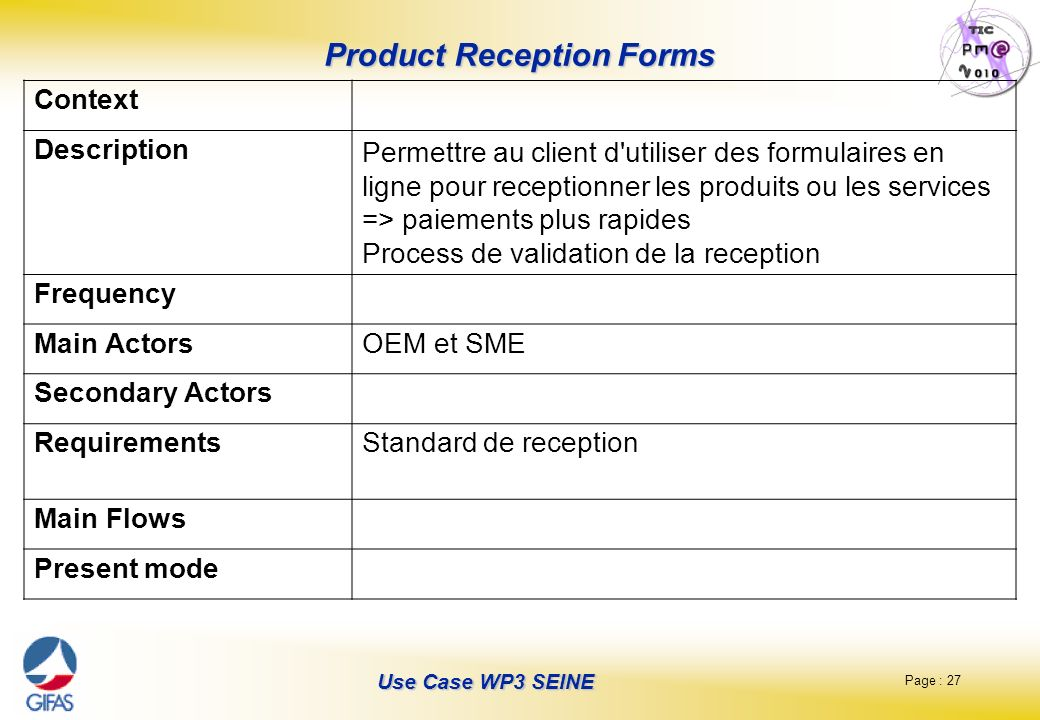 Product Reception Forms