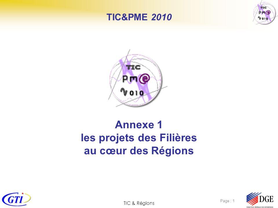 Annexe 1 les projets des Filières au cœur des Régions